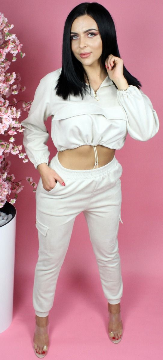 Suede Drawstring Cropped Tracksuit