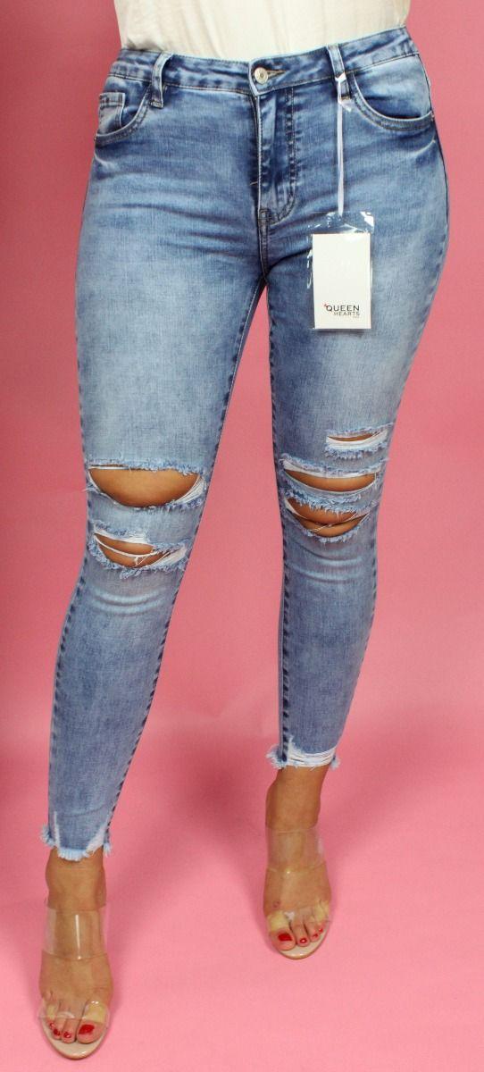 Ankle + Rip Knee Skinny Jeans 733
