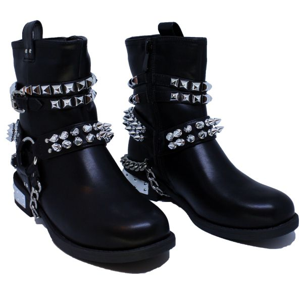 Ankle Boots Studs Zip Buckle A346