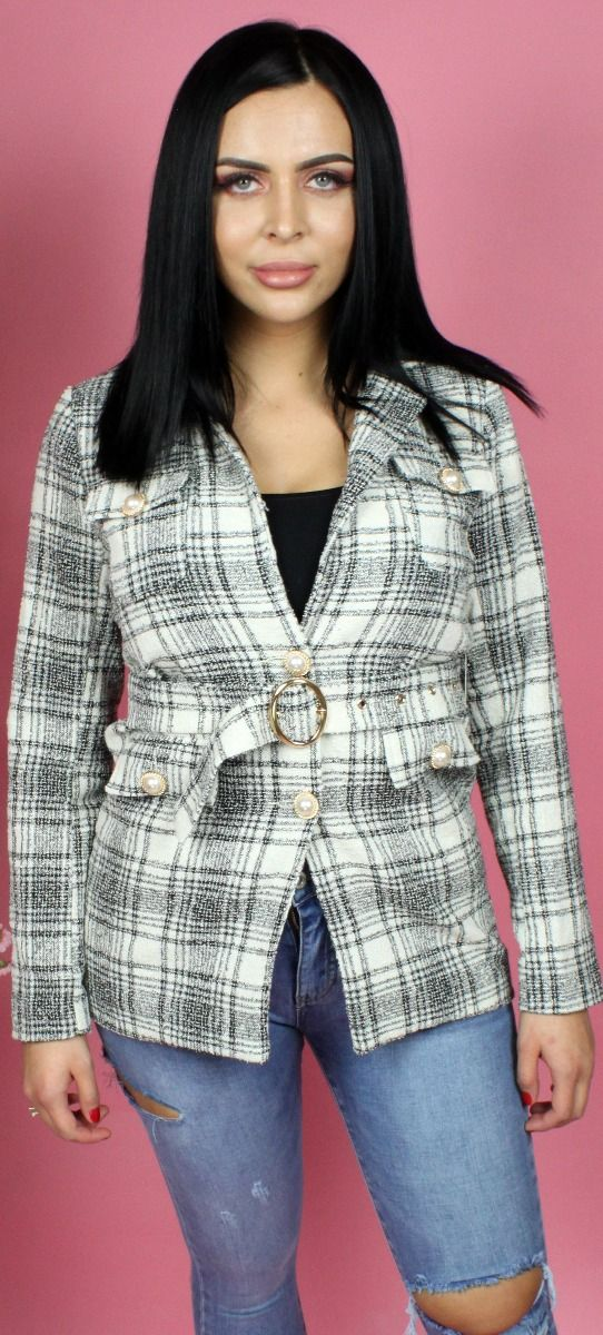 Check Self Belt Blazer Dress