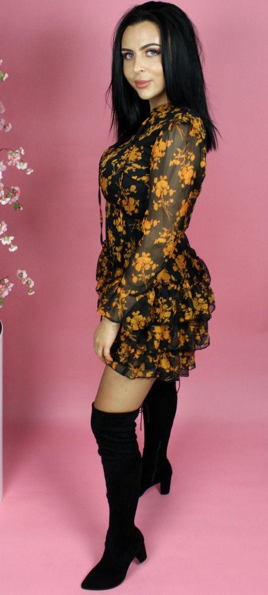 Floral Ruffle Skater Dress