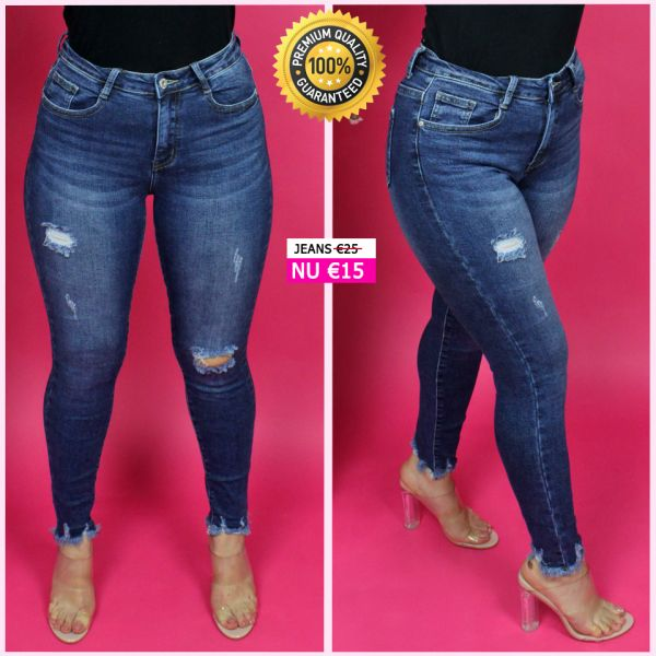 Premium Quality Ankle Fray Ripped Stretch Jeans 77377