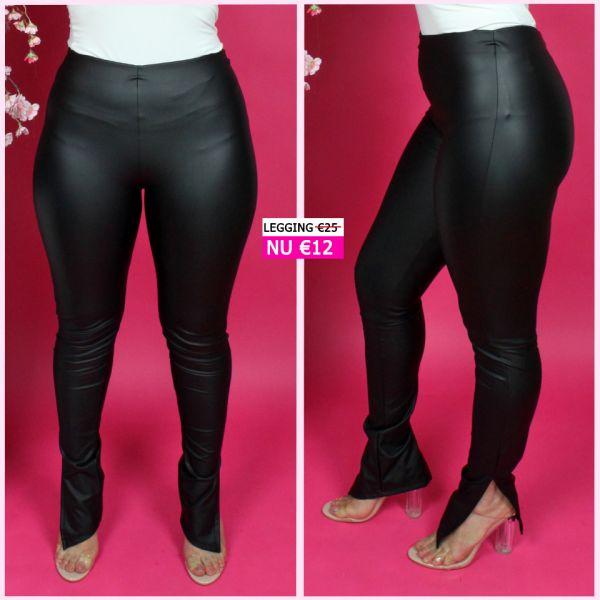 Famous Split Leather Look Legging 8436