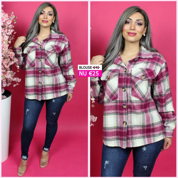 Premium Check Blouse Purple