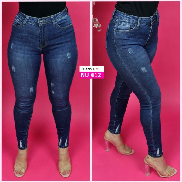 Stretch Jeans Scratches Ankle Frays L9100-1