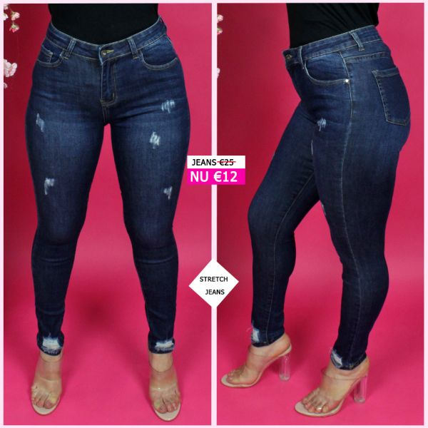 Stretch Jeans Scratches Ankle Frays L9105