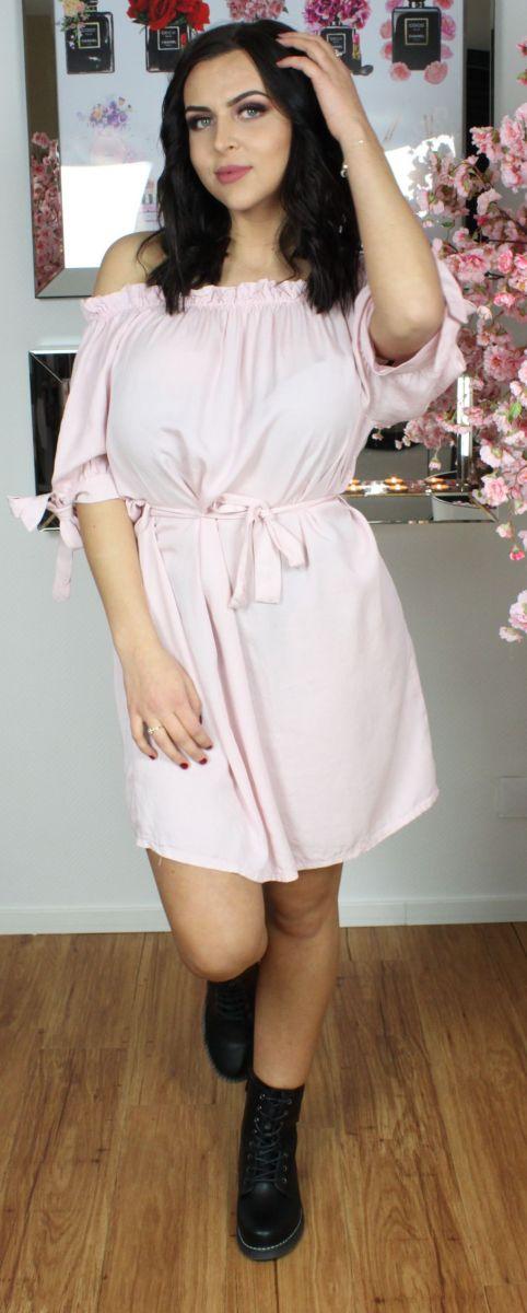 Off The Shoulder Tie Waist Dress
