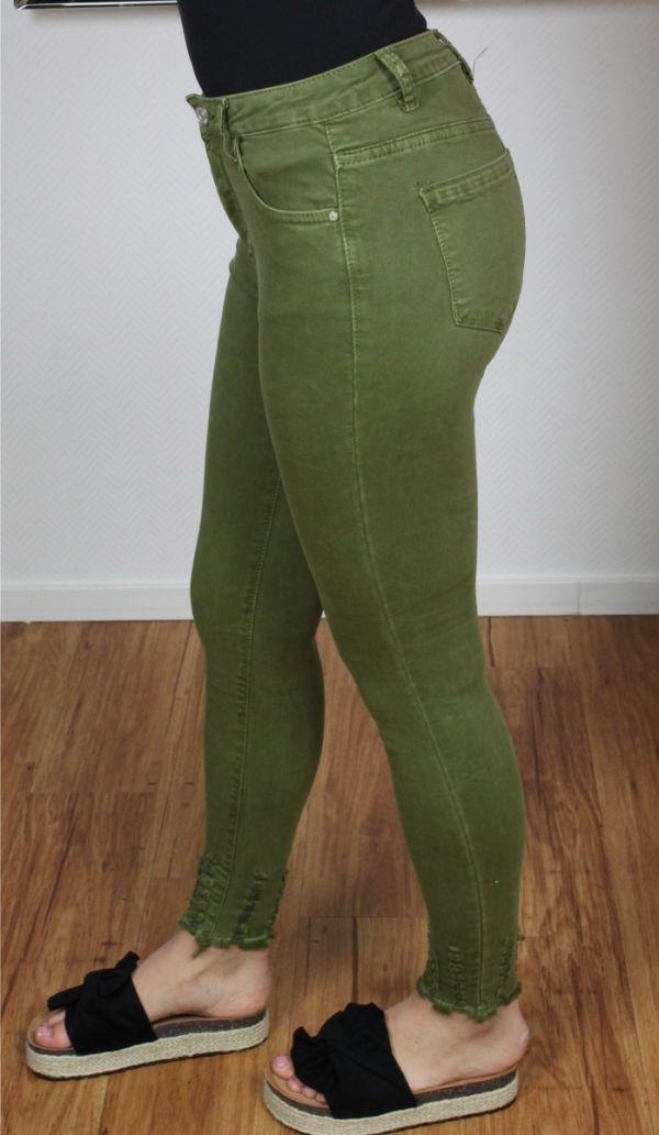High Waist Destroyed Hem Skinny Jeans Army 3D739