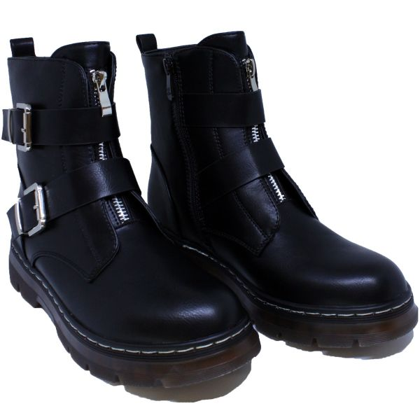 Ankle Boot Double Gesp & Middle Zip T201
