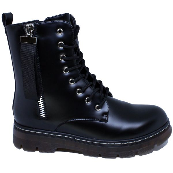 CHUNKY SOLE TAG LACE UP ANKLE BOOT T202
