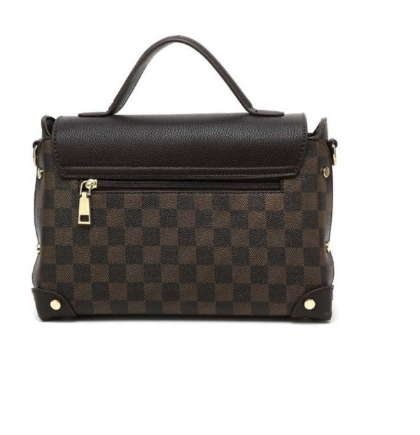 Black Check Print Top Handle Bag With Center lock