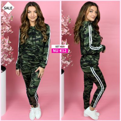 PRE ORDER Black Army Tracksuit Stripes Detail 777 WORD 02-06 VERZONDEN