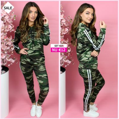 PRE ORDER Green Army Tracksuit Stripes Detail 777 WORD 02-06 VERZONDEN
