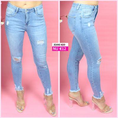 PRE ORDER Distressed Ankle Fray Skinny Stretch Jeans 77338 WORD UITERLIJK 08-07 VERZONDEN