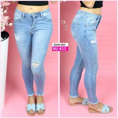 PRE ORDER Distressed Rip Knee Skinny Stretch Jeans 77339 WORD UITERLIJK 08-07 VERZONDEN
