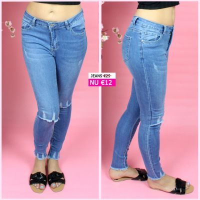 PRE ORDER Rip Knee Stretch Skinny jeans L9086 WORD UITERLIJK 08-07 VERZONDEN