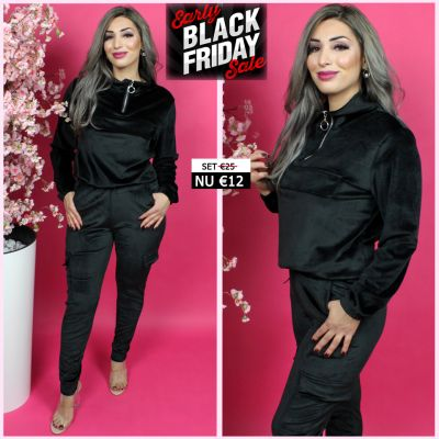 Velvet Drawstring Set Black 190