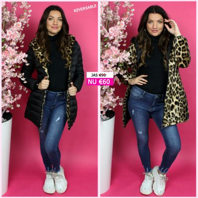 Reversible Long Jacket Leopard S20529
