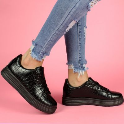 Alexander Croco High Sole S16 Black Sneaker