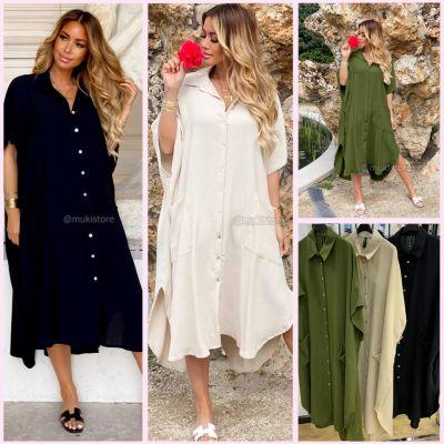 Oversized Dress Pockets Splits