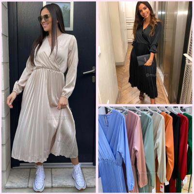 Long Sleeve Satin Pleated Dress